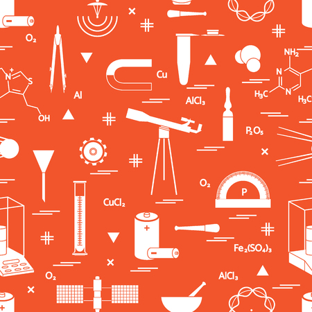 Seamless pattern with variety scientific, education elements: dividers, formula, test-tube, satellites, batteries and other. Design for banner, poster or print.