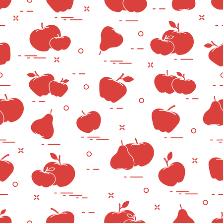 Apples and pears juicy fruit. Seamless pattern. Design for announcement, advertisement, banner or print. 版權商用圖片 - 92183705