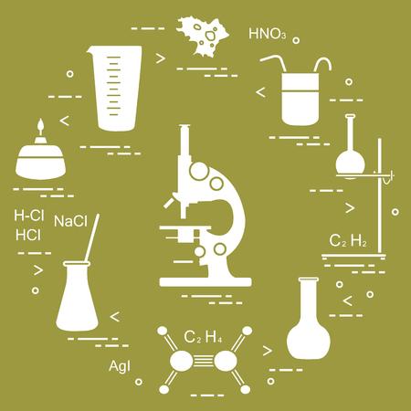 Chemie wissenschaftlich, Bildungselemente: Mikroskop, Flaschen, Stativ, Formeln, Becher, Brenner, Amöbe, Messbecher. Design für Banner, Poster oder Print. Vektorgrafik