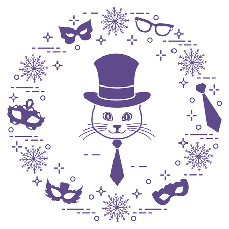 Muzzle of a kitten in a cylinder hat and carnival masks, snowflakes, glasses, tie.