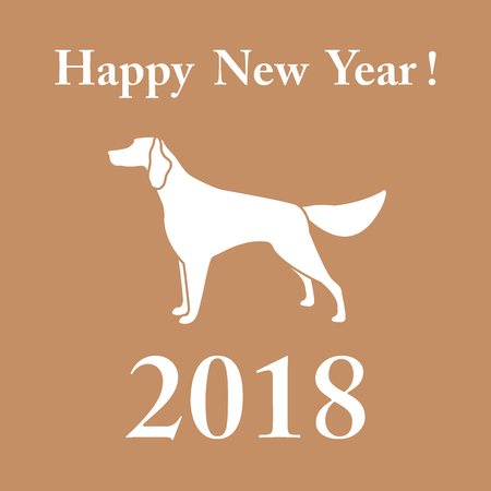 Setter silhouette and inscription happy new year. Design element for postcard, banner, poster or print. Illustration