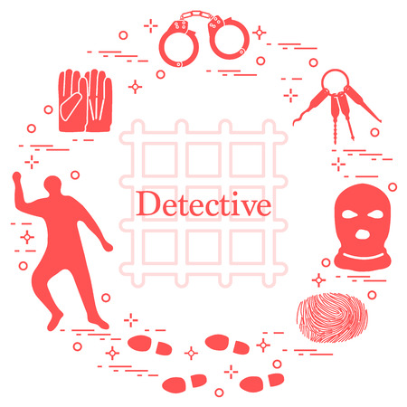 Criminal and detective elements. Crime, law and justice vector icons. Design for announcement, print. Stock Illustratie