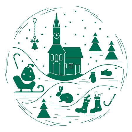 Illustration of different new year and Christmas symbols arranged in a circle.