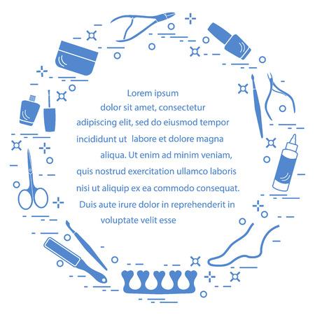 Silhouet van manicure en pedicurehulpmiddelen en producten voor schoonheid en zorg. Ontwerpelement voor briefkaart, banner, poster of print.