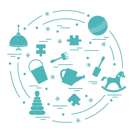 Illustration kids elements arranged in a circle. Stock Illustratie