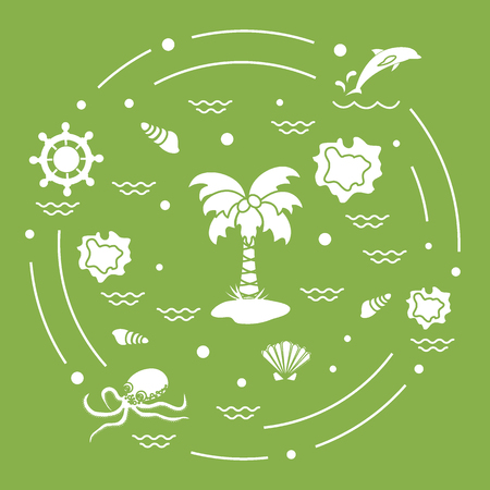 Cute illustration with different objects related to tourism and outdoor recreation arranged in a circle. Illustration