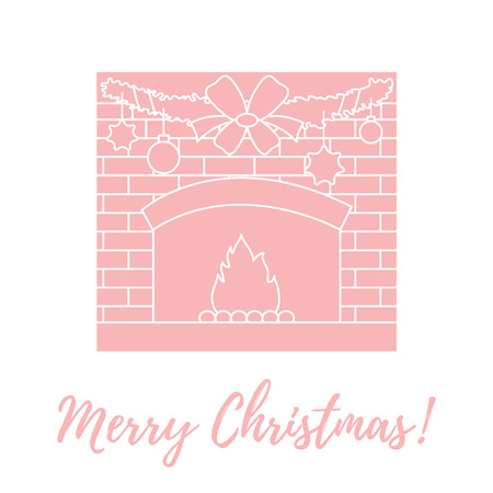 Vector illustration with kindled fireplace, garland, Christmas balls and stars. Winter elements for banner, flyer, poster or print.