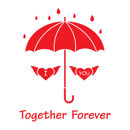 Two hearts with wings under an umbrella in the rain. Design for banner, poster or print. Greeting card Valentines Day.