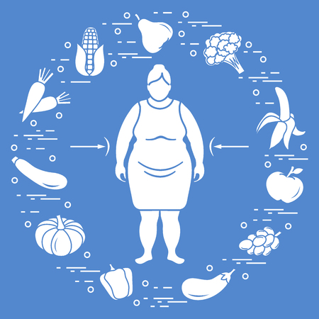 Fat woman with healthy food around her. Healthy eating habits. Design for banner and print.