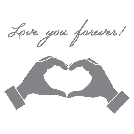 Cute vector illustration: hand making a heart shape. Love symbol. Design for banner, flyer, poster or print.