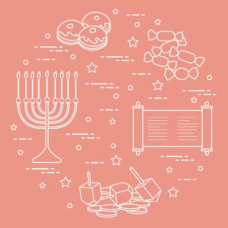 Jewish holiday Hanukkah: dreidel, sivivon, menorah, coins, donuts and other. Design for postcard, banner, poster or print. Vettoriali