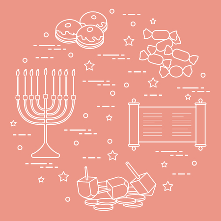 Jewish holiday Hanukkah: dreidel, sivivon, menorah, coins, donuts and other. Design for postcard, banner, poster or print. Ilustração
