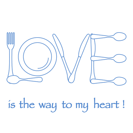 Inscription LOVE from cutlery. Design for banner, poster or print. Greeting card Valentine's Day. Vectores
