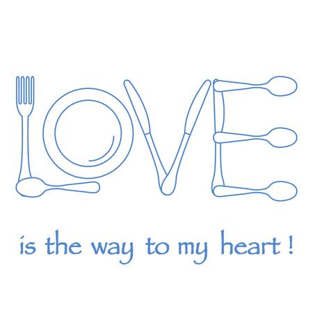 Inscription LOVE from cutlery. Design for banner, poster or print. Greeting card Valentine's Day. Ilustração