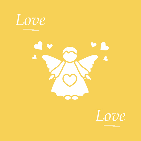 Cute vector illustration: angel and hearts. Love symbol. Design for banner, flyer, poster or print.