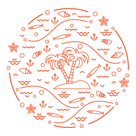 Cute vector illustration with fish, island with palm trees, anchor, waves, seashells, starfish,  arranged in a circle. Design for banner, poster or print. Vettoriali
