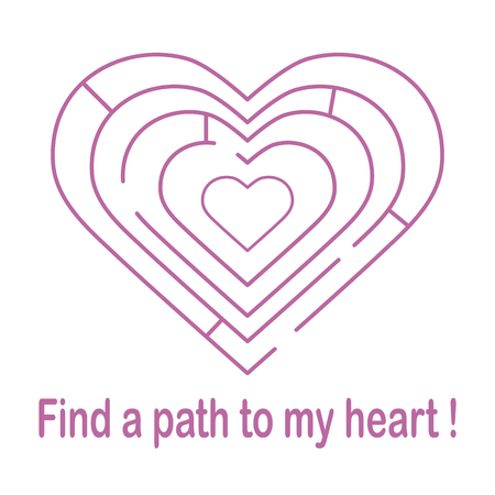 Labyrinth to the heart and the inscription find a path to my heart. Design for banner, poster or print. Greeting card Valentine's Day.