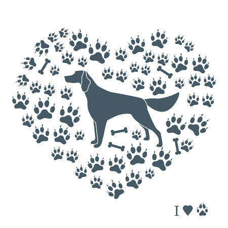 Setter silhouette on background of dog tracks and bones in the form of heart. Design element for postcard, banner, poster or print. Иллюстрация