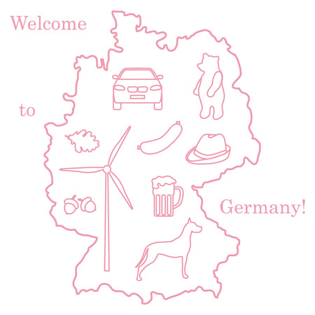 Vector illustration with various symbols of Germany. Travel and leisure. Design for banner, poster or print. Illustration