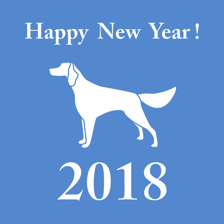 Setter silhouette and inscription happy new year. Design element for postcard, banner, poster or print. Иллюстрация