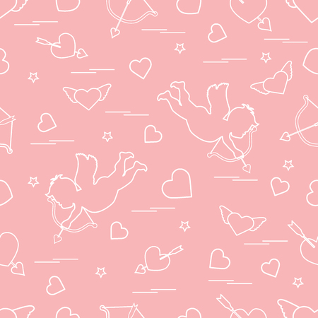 Cute seamless pattern with cupid shoots a bow and hearts. Love symbol. Design for banner, poster or print.  Illustration