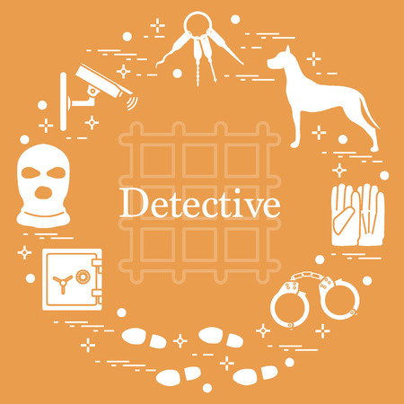 Criminal and detective elements. Design for announcement and print. Illustration