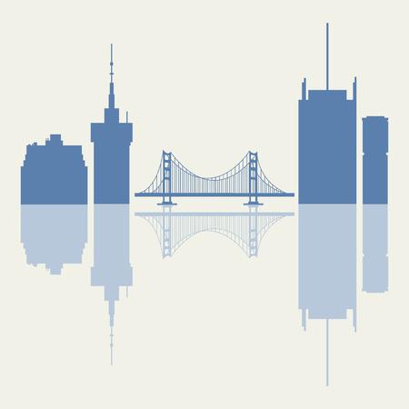 アメリカのゴールデンゲート、吊り橋、近代的な建物のシルエット。高層ビル、高層ビル、橋。 写真素材 - 92773361