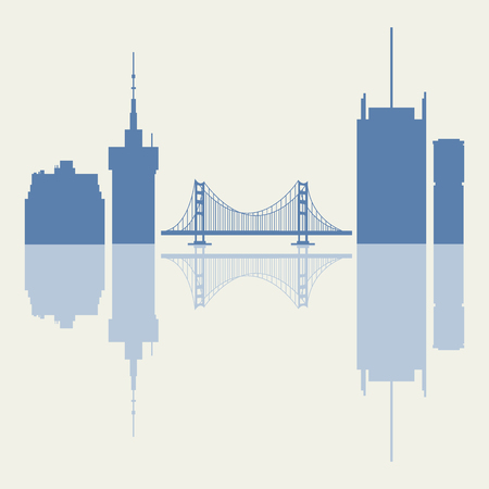 Silhouettes of Golden Gate, suspension bridge and modern buildings in the USA. Tall buildings, skyscrapers and bridge.
