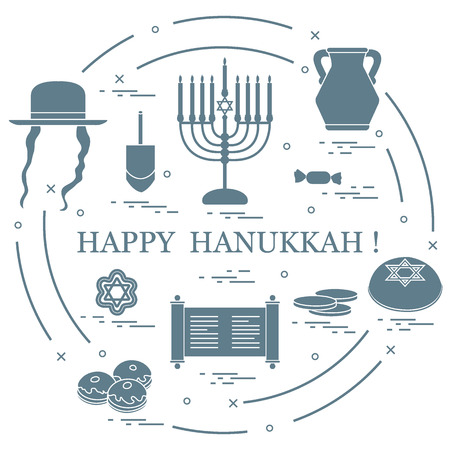 Vector illustration of Jewish holiday Hanukkah.  Design for postcard, banner, flyer, poster or print. Illusztráció