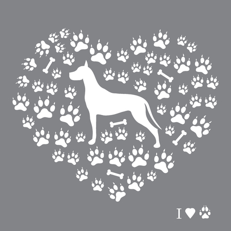 Nice picture of great dane silhouette on a background of dog tracks and bones in the form of heart on a colored background. Illustration