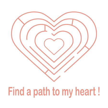 Heart shaped maze with inscription find a path to my heart.