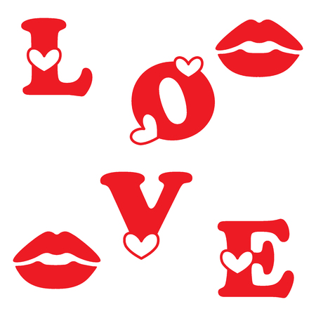 Love letter with hearts and a kisses. Love symbol. Design for banner, poster or print. Valentines Day