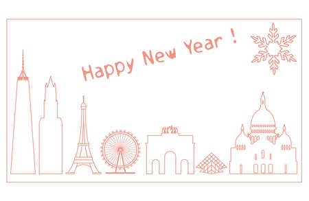 Famous buildings and constructions of different countries. New Year and Christmas greeting card. Illustration