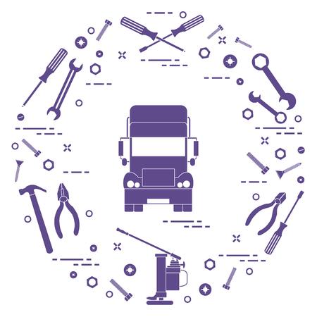 Repareer auto's: vrachtwagen, sleutels, schroeven, sleutel, tang, krik, hamer, schroevendraaier. Ontwerp voor aankondiging, advertentie, banner of print. Stockfoto - 92850052