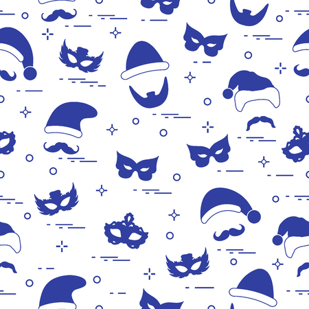 Seamless pattern of different carnival decorations: masks, Christmas hats, mustache, beard. Carnival festive concept. Costume for a party.