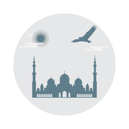 United Arab Emirates symbols. Sheikh Zayed Mosque silhouette and soaring falcon. Abu dhabi. Design for banner, poster or print.