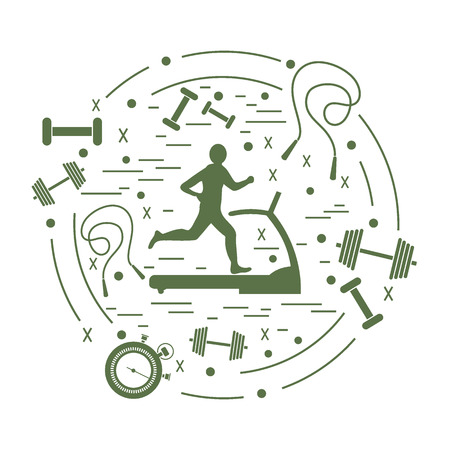 Vector illustration of the man jogging on a treadmill and different kinds of sports equipment arranged in a circle. Including icons of skipping rope, stopwatch, dumbbells and other.