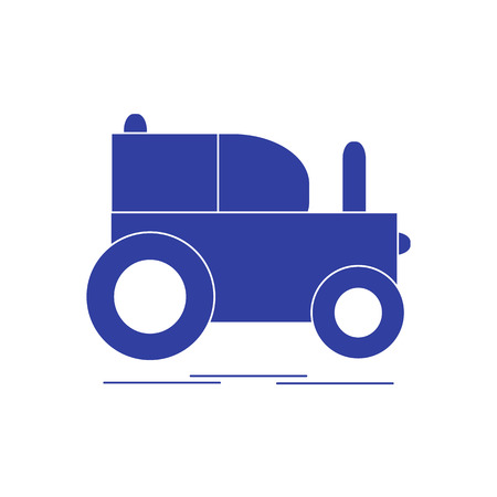 Childrens toy: tractor. Design for poster or print. Illustration