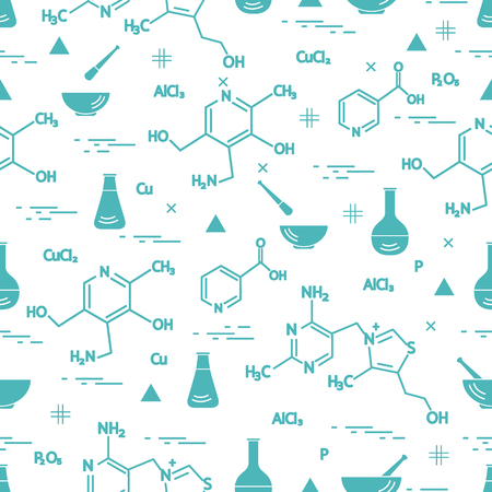 Variety scientific, education elements seamless pattern. Flask, formula, pestle and other design for banner, poster or print.