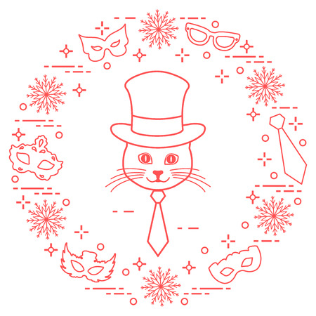 Muzzle of a cat in a cylinder hat and carnival masks, snowflakes, glasses and tie. Carnival festive concept costume for a party.