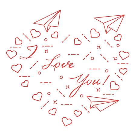 Paper airplane, hearts and encryption of I love you. Template for design, fabric and print for Valentines Day. Illustration