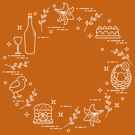 Different Easter symbols arranged in a circle: simnel cake, chick, lily, baskets and eggs design for banner, poster or print.