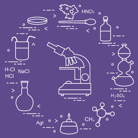 Chemistry scientific, education elements: microscope, Petri dish, dropper, flasks, camera Kippa, formulas, beaker, burner, amoeba. Design for banner, poster or print. 일러스트