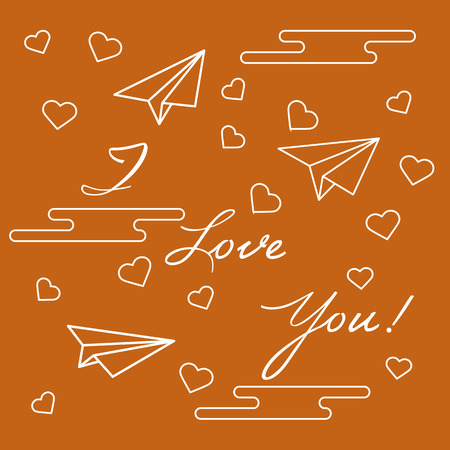 Paper airplane, hearts, clouds and inscription i love you.Template for design, fabric, print.