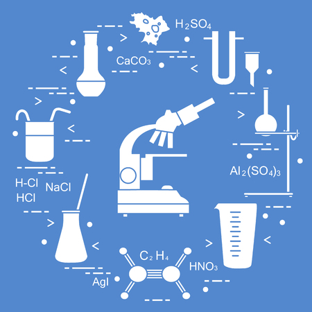 Chemistry scientific, education elements: microscope, flasks, tripod, formulas, beaker, amoeba, measuring cup, funnel, U-shaped tube. Design for banner, poster or print. Illustration