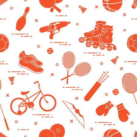 Pattern with bicycle, rollers, boxing gloves, water pistol and goods for bowling, table tennis, tennis, badminton, football, basketball, archery. Sports and healthy lifestyle from childhood.