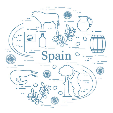 Vector illustration with various symbols of Spain arranged in a circle. Travel and leisure. Design for banner, poster or print. Vectores