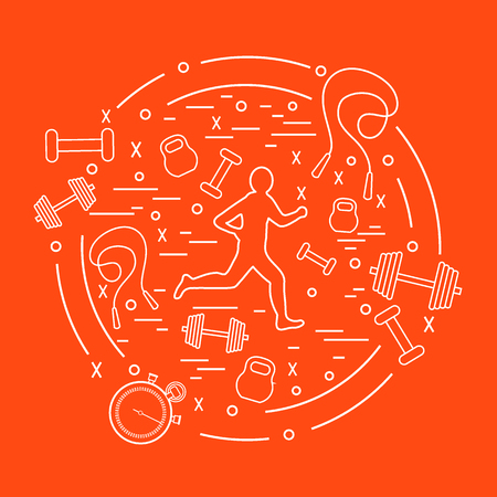 Vector illustration of the jogging man and different kinds of sports equipment arranged in a circle. Including icons of skipping rope, stopwatch, dumbbells and other.