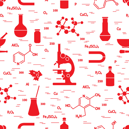 Scientific and education elements seamless pattern: microscope, flasks, formula and pestle design for banner, poster or print.  イラスト・ベクター素材