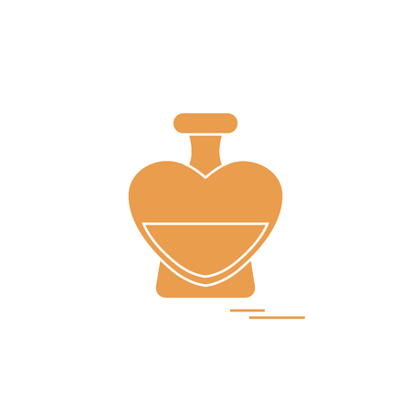 Cute vector illustration of perfume bottle in the shape of heart. Design for banner, flyer, poster or print for greeting card on Valentine's Day.